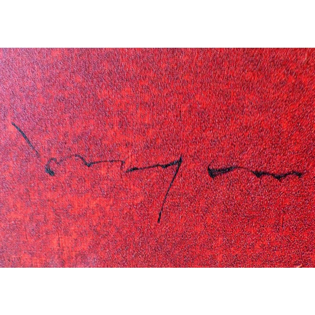 Mid-Century Modern Abstract Oil on Canvas by Louis Moyano 'Chile 1929-Paris 1965' For Sale - Image 3 of 11