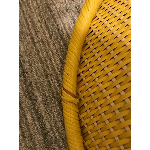 Vintage Mid-Century Atomic Vinyl Yellow Basket Chair For Sale - Image 10 of 13