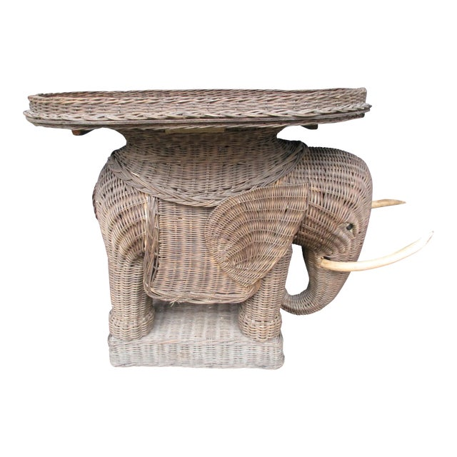 20th Century Boho Chic Wicker Elephant Side Table For Sale