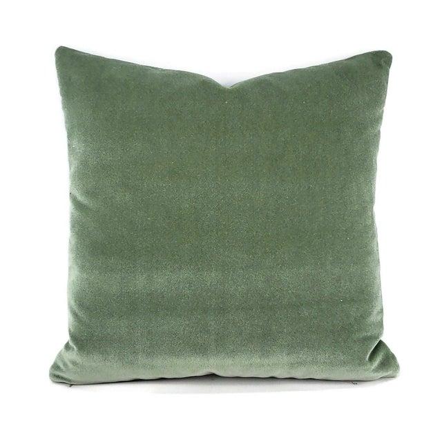 """Green Pollack Sedan Plush in Eucalyptus Pillow Cover - 20"""" X 20"""" Sage Green Heavy Velvet Cushion Case For Sale - Image 8 of 8"""