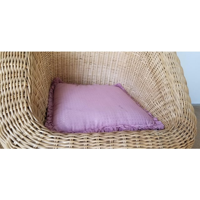 Vintage Woven Wicker Club Chair For Sale In Miami - Image 6 of 11