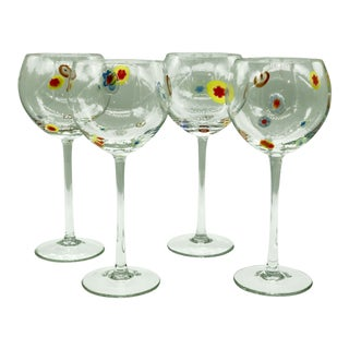 4pc. Set Murano Sorrento Goto Millefiori Wine Balloon Goblets For Sale