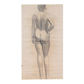 Meditation on a Female Nude From Behind 1920-30s Graphite For Sale