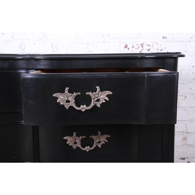 Black John Widdicomb French Provincial Louis XV Ebonized Dresser, Newly Refinished For Sale - Image 8 of 13
