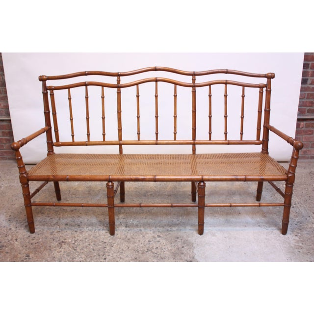 Mid-20th Century Faux-Bamboo Settee Bench in Cherrywood - Image 3 of 11