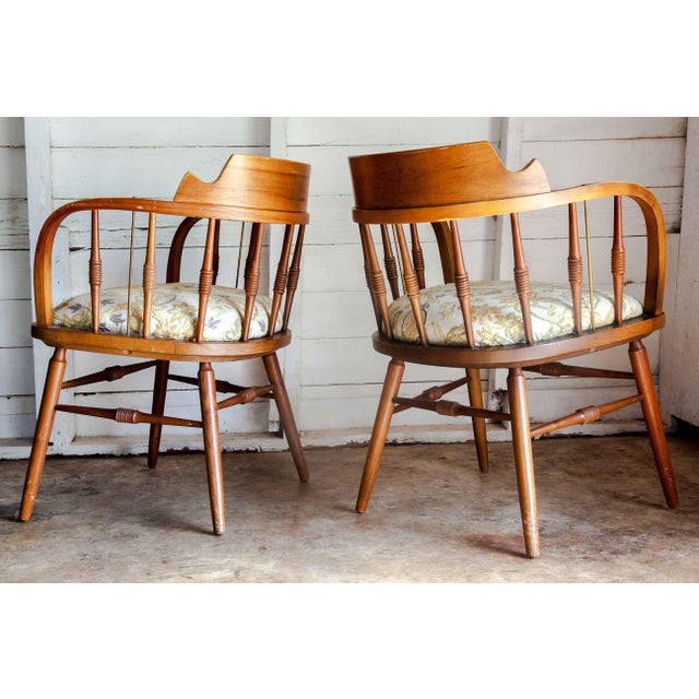 Metal 1950s Vintage Drexel Barrel Dining Office Accent Arm Chairs- Pair For Sale - Image 7 of 13