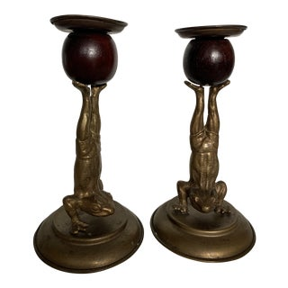 1977 Arthur Court Brass and Wood Frog Candlestick Holders - a Pair For Sale