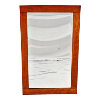 Antique Oak Wood Framed Wall Mirror For Sale
