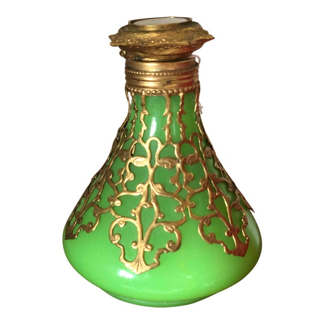 Antique Palais Royal French 19th Century Opaline Perfume Bottle Green With Cased Gold For Sale