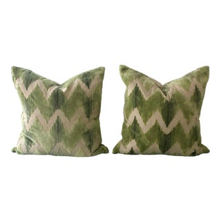 Ryan Studio Green ZigZag Pillows - a Pair For Sale
