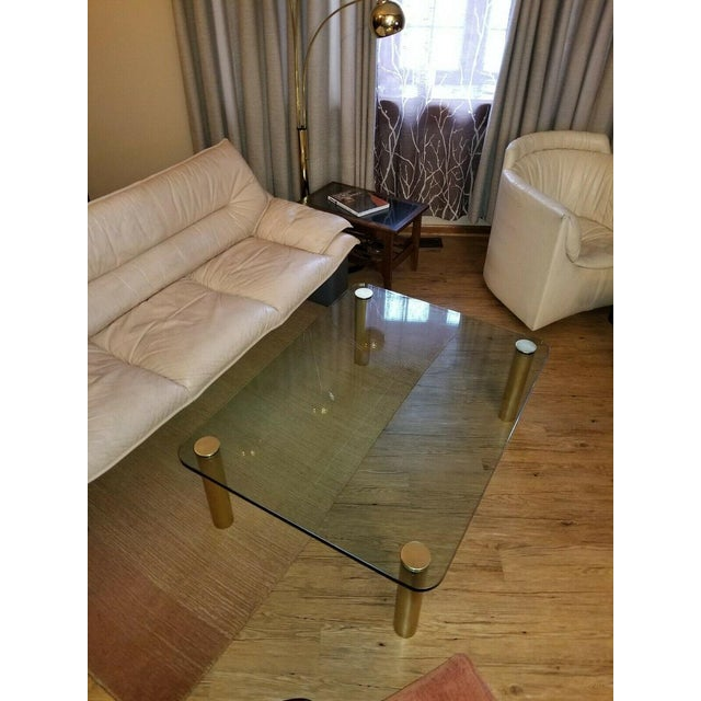 1970s Brass and Glass Coffee Table by the Pace Collection Leon Rosen For Sale - Image 5 of 13