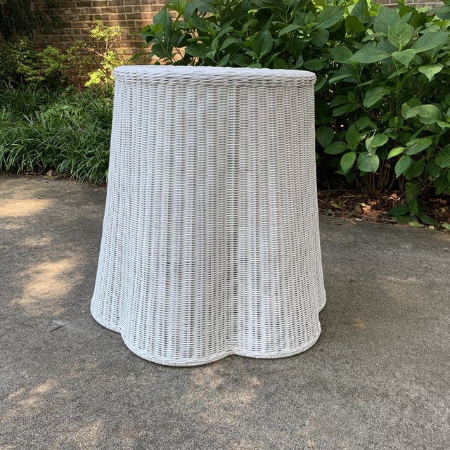 Trompe l'Oeil Round Top White Draped Rattan Table For Sale - Image 9 of 9