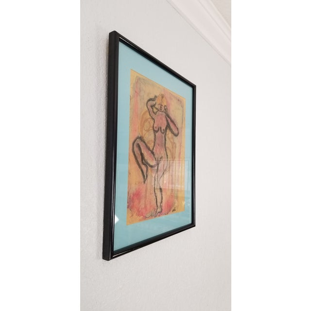 For you consideration we are presented for sale this fantastic vintage abstract painting depicts a figurative nude female...