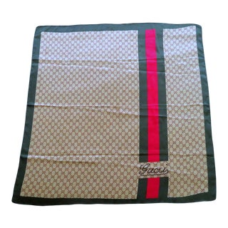 Vintage Gucci Ophidia Logo Silk Scarf For Sale