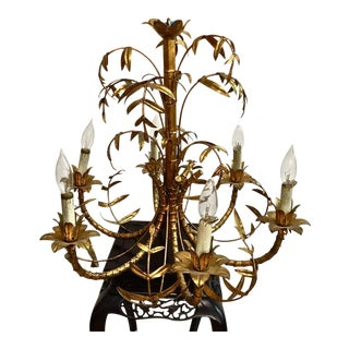 Mid-Century Gold Leafed Faux Bamboo Chandelier