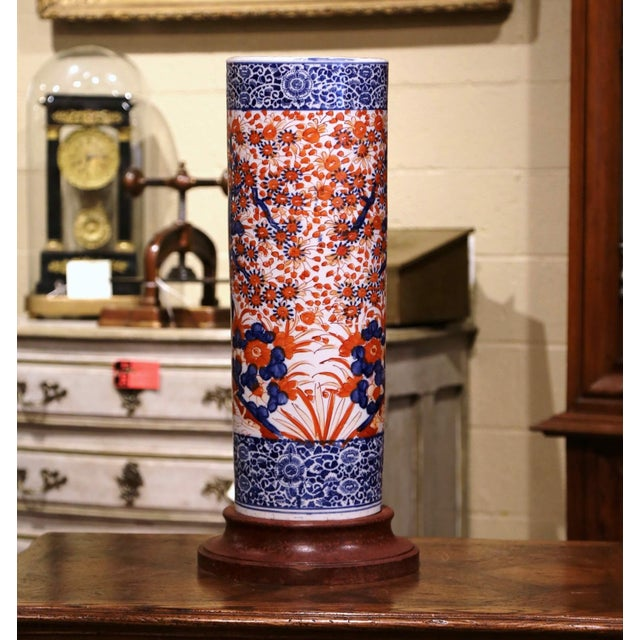 Place this elegant antique stand at your front door or in your mudroom to catch loose canes and umbrellas. Crafted in...