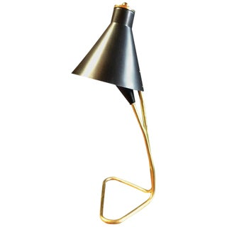 Desk Lamp in Brass and Dark Blue Metal, Italian, 1950s For Sale