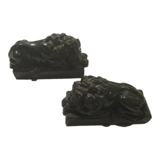 Grand Tour Stone Lions - A Pair For Sale