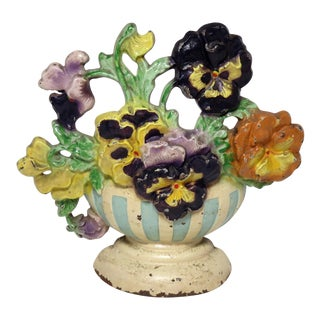 1920s Antique Hubley Cast Iron Pansy Flower Doorstop For Sale