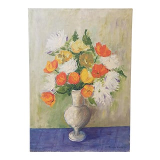 Vintage Vase of Poppies Still Life Painting