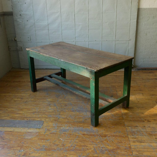 Industrial Large French Industrial Wooden Table With Green Paint For Sale - Image 3 of 10