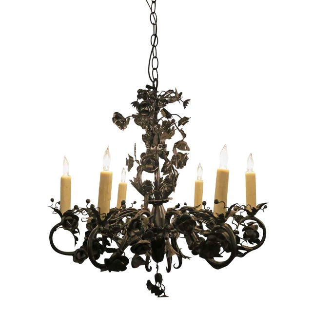 Black Rose Wrought Iron Floral Chandelier For Sale