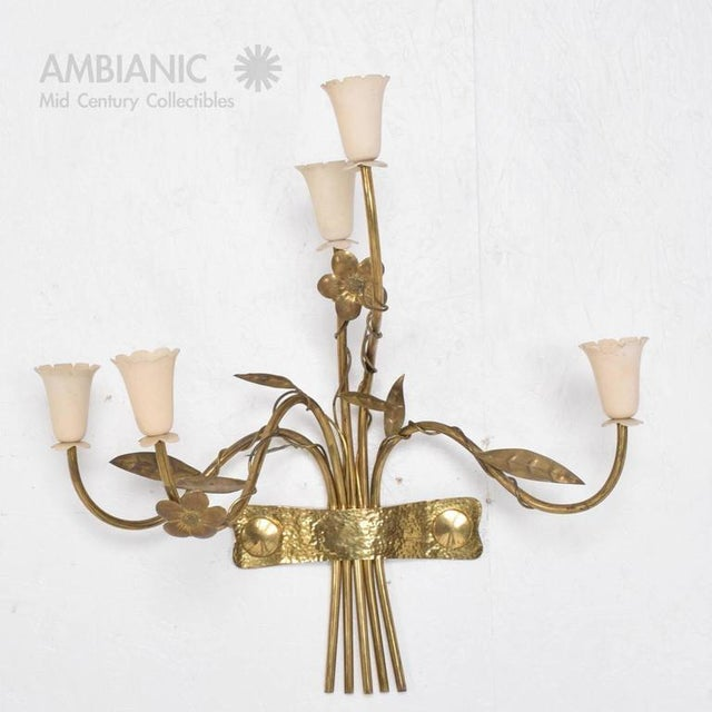 Italian Pair of Mid-Century Modern Italian Wall Sconces For Sale - Image 3 of 8