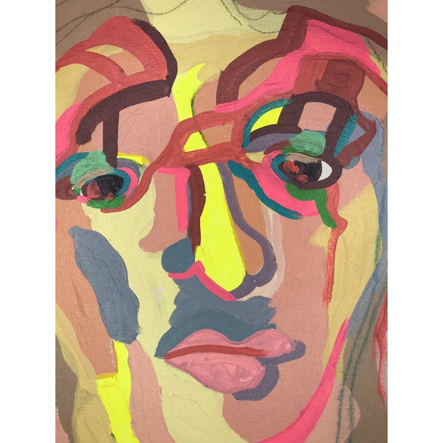 """Contemporary Abstract Portrait Painting """"There's Just Something About It, No. 2"""" - Framed For Sale - Image 4 of 5"""