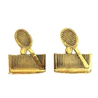 Mid-Century Tennis Brass Bookends