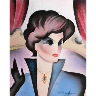 Erik Freyman, Woman With Necklace, Airbrush and Pastel For Sale