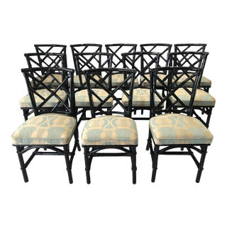 12 Ficks Reed Style Black Lacquered Bamboo Chairs - For Sale