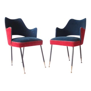 Pair of Red & Blue Velvet Chairs For Sale