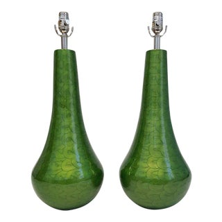Chelsea House Green Enamel Lamps - a Pair For Sale