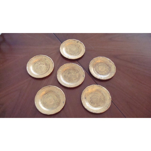 Vintage Brass Bamboo Style Coasters - Set of 6 - Image 3 of 6