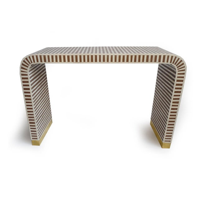 Inlay Striped Waterfall Console Table Brown For Sale In Los Angeles - Image 6 of 6