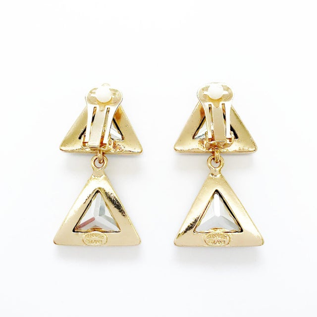 Modern Triangle Dangling Earrings by Kenneth Jay Lane For Sale - Image 3 of 4