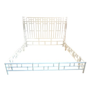 20th Century Hollywood Regency Faux Bamboo King Bedframe For Sale