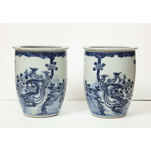 Blue and white goes with everything, and will never go out of fashion. These two Chinese export vases/cachepots look great...