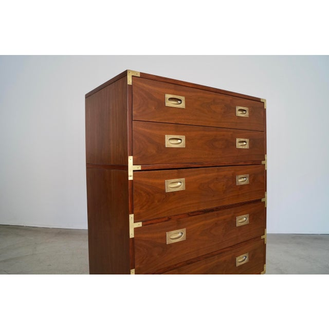 Hollywood Regency Walnut Rosewood Campaign Dresser For Sale In Los Angeles - Image 6 of 13