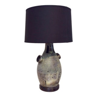 Mid Century Modern Black Sculptural Table Lamp by Gilbert New York City With Black Shade For Sale