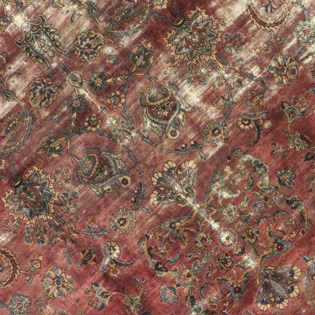 Distressed Antique Persian Kerman with Modern Industrial Style For Sale - Image 4 of 8