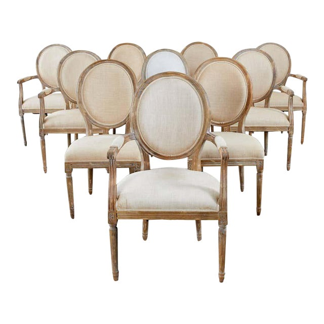 French Louis XVI Style Oak Dining Chairs - Set of 10 For Sale