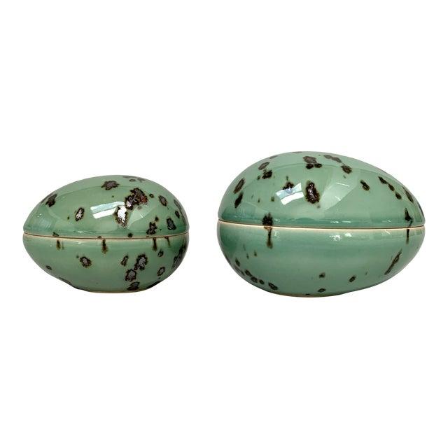 1970s Danish Modern Dansk Large and Medium Jade Green Stoneware Egg Boxes - Set of 2 For Sale