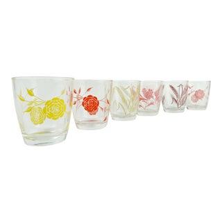 Vintage 1950s Floral Juice Glasses - Set of 6 For Sale