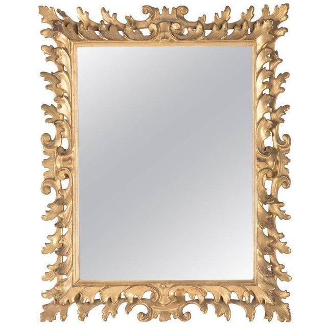 Yellow Italian Rococo Style Gilt Wood Vanity Mirror For Sale - Image 8 of 8