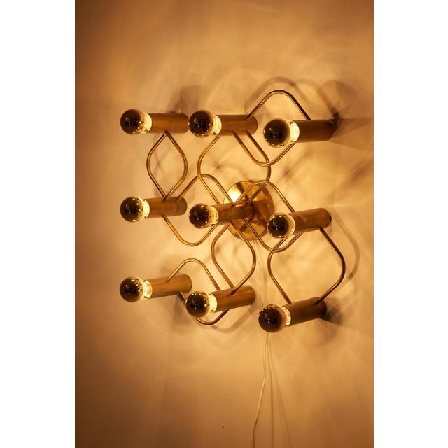 Metal Brass 9-Light Sciolari Flush Mount Wall or Ceiling Lamp by Leola For Sale - Image 7 of 8