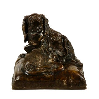 Superb Cavalier King Charles Spaniels Dogs, by C. Valton, 1885-1900 For Sale