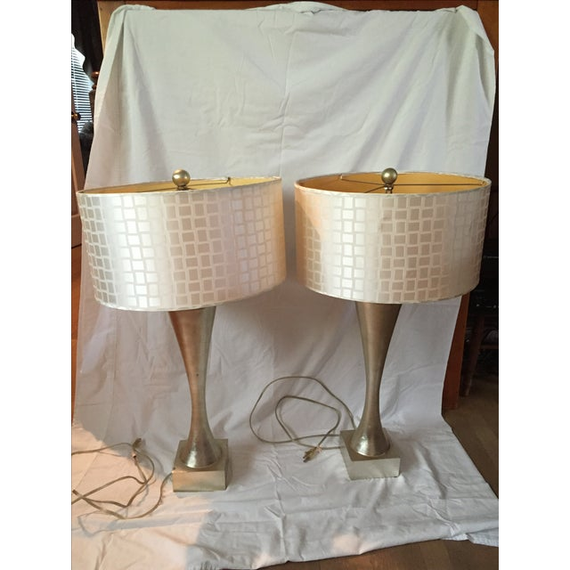 Mid-Century Gold Leaf Design Table Lamps - Pair - Image 2 of 6
