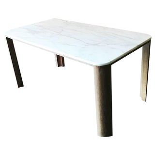 Modern Wood and Marble Table For Sale