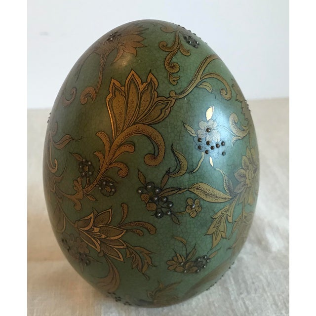 Green & Gold Egg With Floral Raised Details For Sale - Image 4 of 9